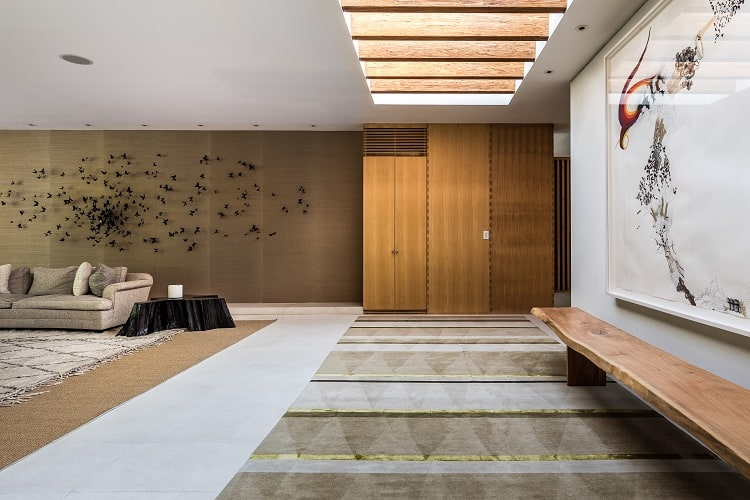 Interiors of a Shigeru Ban-designed home in Long Island, NY. Photo credit: Compass